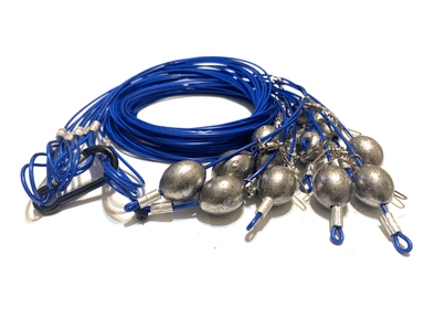 "72"" 8oz Egg Sinker Translucent Blue PVC Coated Cable Texas Rig Decoy"