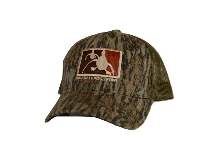 Bottomland Camo ultimate logo trucker hat | Major league fowl