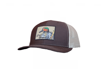 Brown/Khaki Mesh Teal Patch Trucker Hat | East Coast Waterfowl