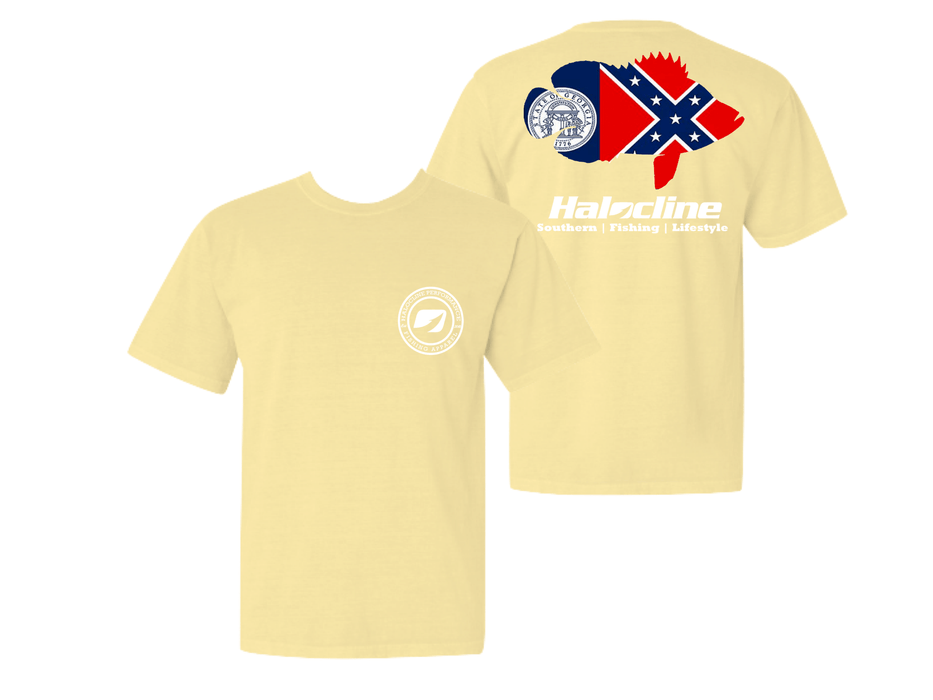 Old Georgia Flag Triple Tail T-shirt From Halocline - Hunting and Fishing Depot