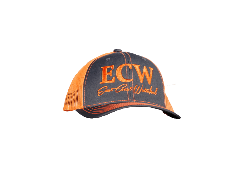 East Coast Waterfowl Charcoal/Neon Orange Snap Back Trucker Hat
