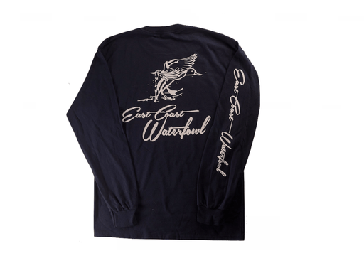 East Coast Waterfowl Long Sleeve T-shirt Navy (Back)
