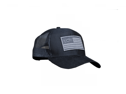 East Coast Waterfowl Black American Flag Patch Trucker Hat Snap Back - Hunting and Fishing Depot