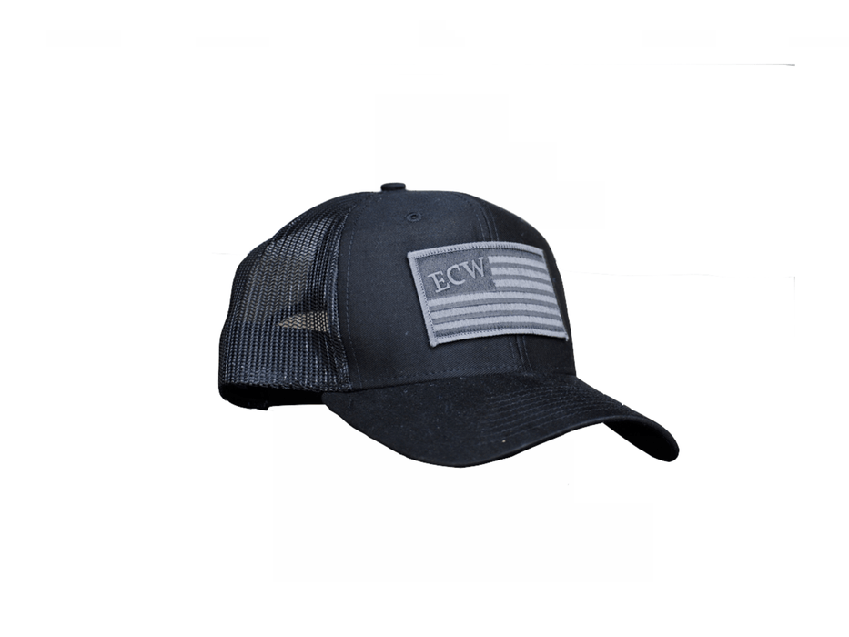 East Coast Waterfowl Black American Flag Patch Trucker Hat Snap Back