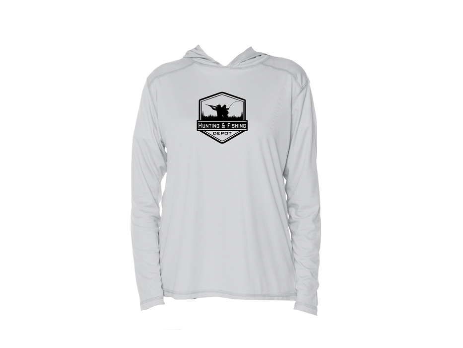 Grey Hooded Performance Fishing Shirt- HFD
