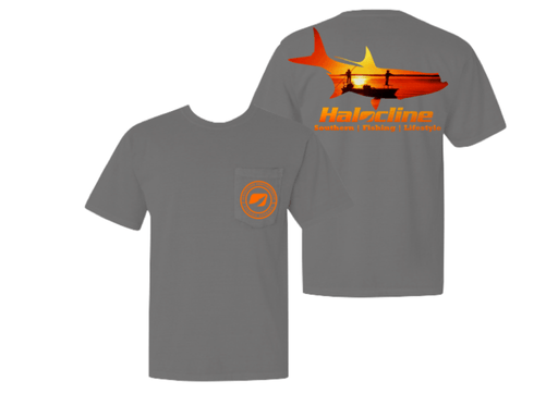 Tarpon Fishing Sunset Flats Pocket T-shirt