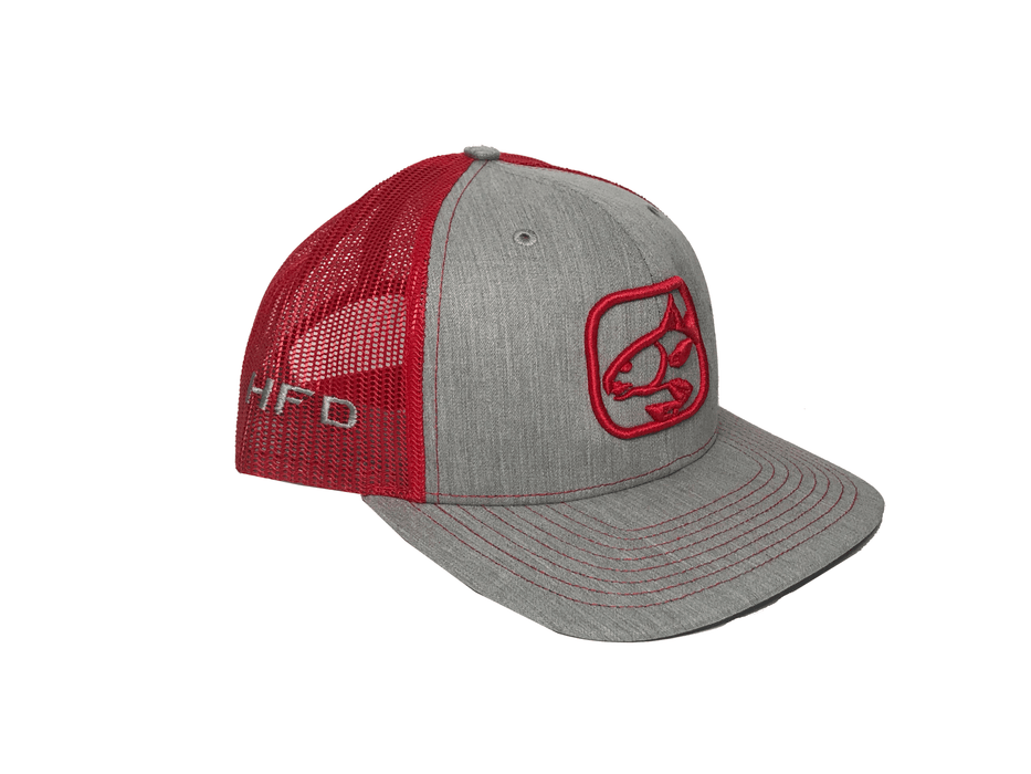 Heather Grey/Red Redfish Hat (Side) | HFD