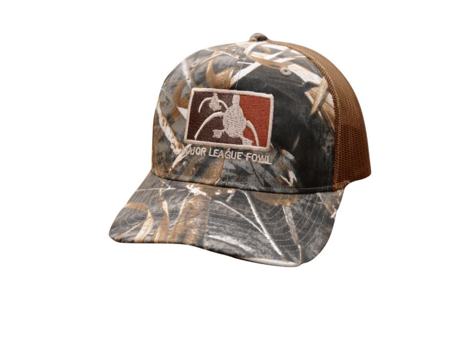 Max5 Camo ultimate logo trucker hat | Major league fowl