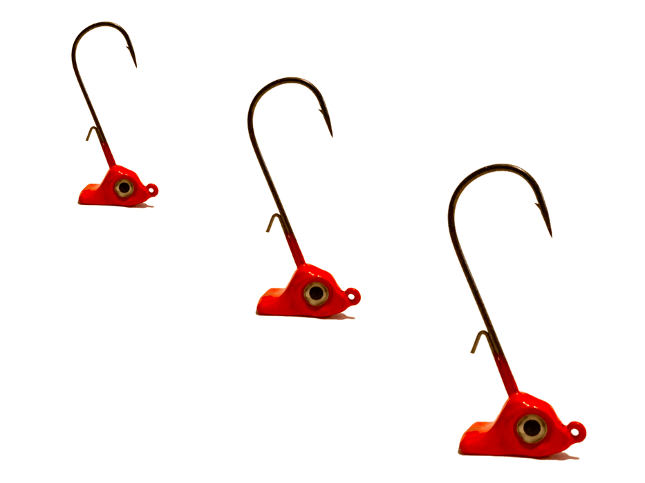 Red Stand Up Jig Heads 3pk