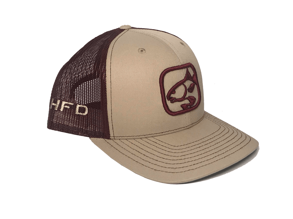 Khaki/Maroon Redfish Hat (Side) | HFD