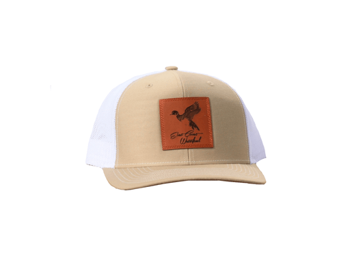 Wood Duck Leather Patch Trucker Hat | East Coast Waterfowl | Tan/White
