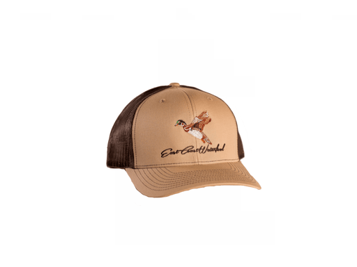 Wood Duck Trucker Hat | East Coast Waterfowl Khaki/Coffee