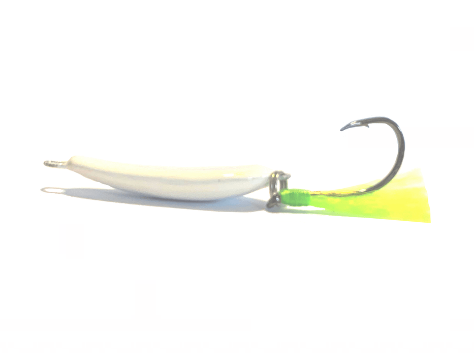 White/Chartreuse Pompano Jigger Fleas - Hunting and Fishing Depot