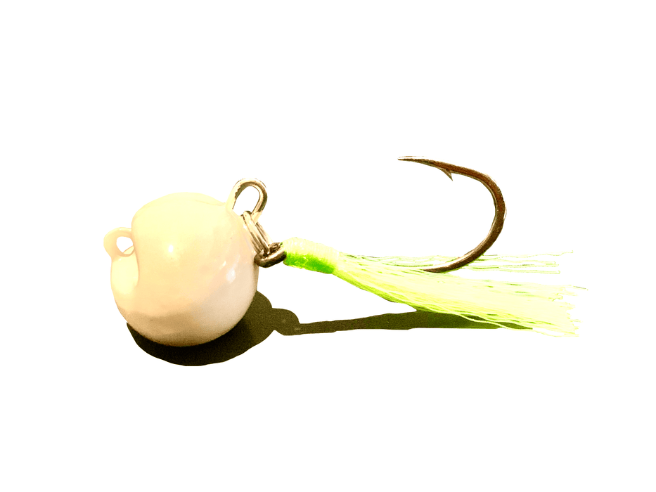White / Chartreuse Swinging Pompano Jigger Fleas - Hunting and Fishing Depot