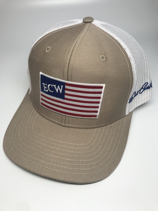 East Coast Waterfowl American Flag Patch Trucker Hat Snap Back - Hunting and Fishing Depot