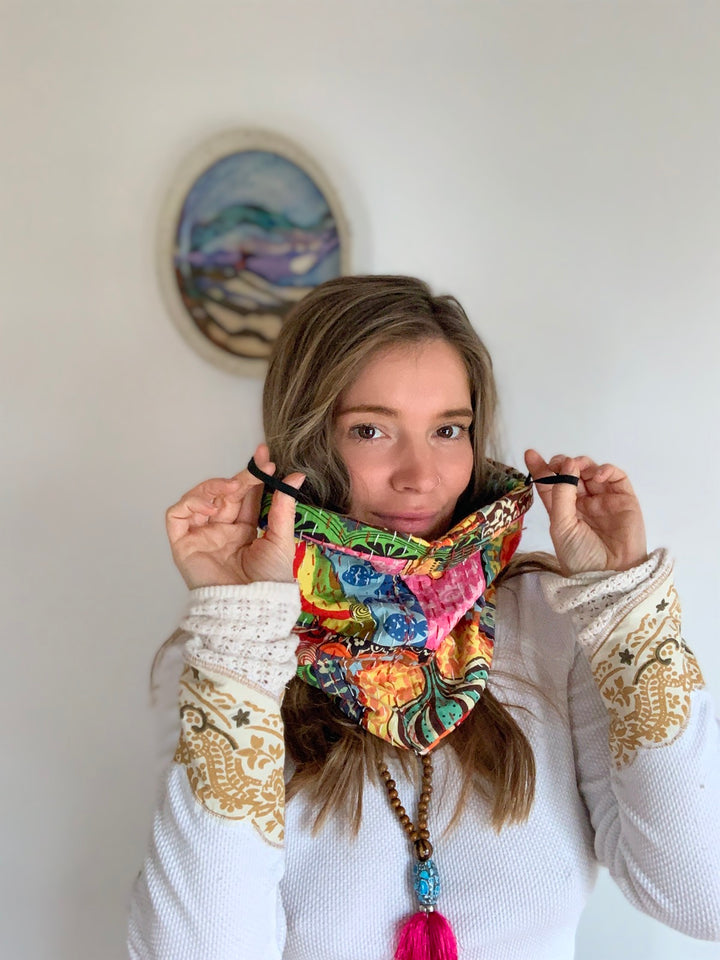 Kantha Convertible Cowl Scarf/Instant Face Mask