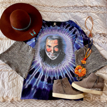 Multiple Sizes Available. Jerry Garcia Tie Dye Soft Waffle Knit Bell Sleeve Top Tee Shirt