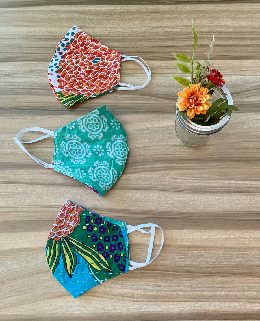Surprise Me Print Double Layer Kantha Cotton Face Mask