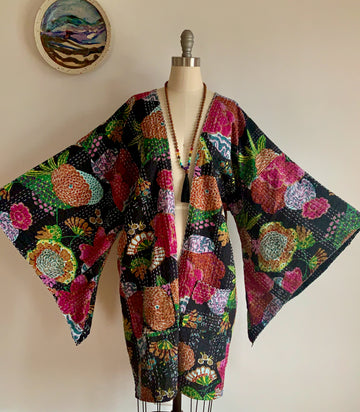 Size Small-Large. Custom Length Black Floral Print Kantha Bell Sleeve Long Robe Sweater Jacket Made To Order