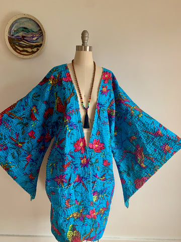 Size Small-Large. Custom Length Bird Song Print Kantha Bell Sleeve Long Robe Sweater Jacket