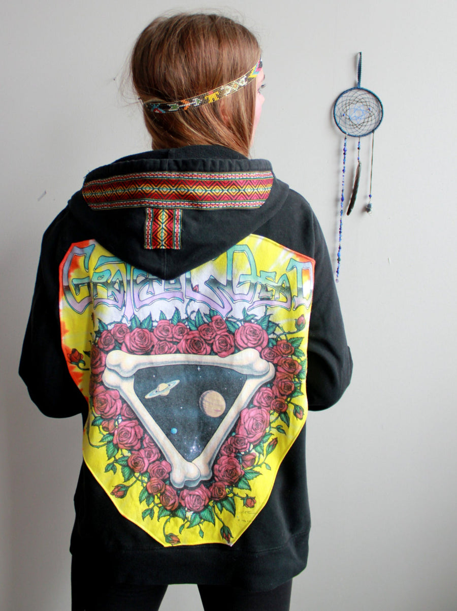 Grateful Dead Space Your Face Made To Order Black Hoodie Sweater with Random Trim Multiple Unisex Sizes Available