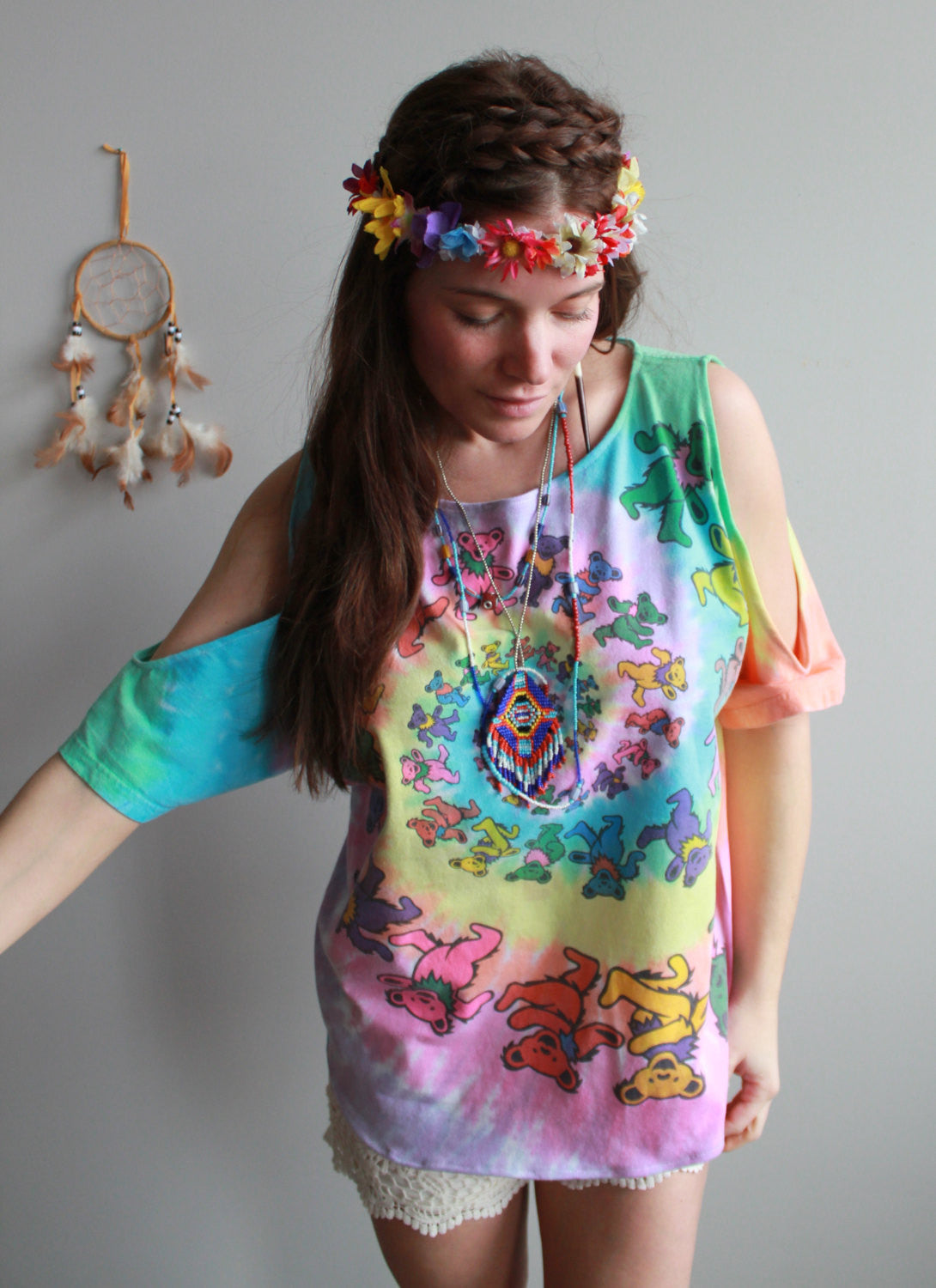 Open Shoulder Grateful Dead Dancing Bears Tie Dye Tshirt/Tee/Top/Shirt Womens