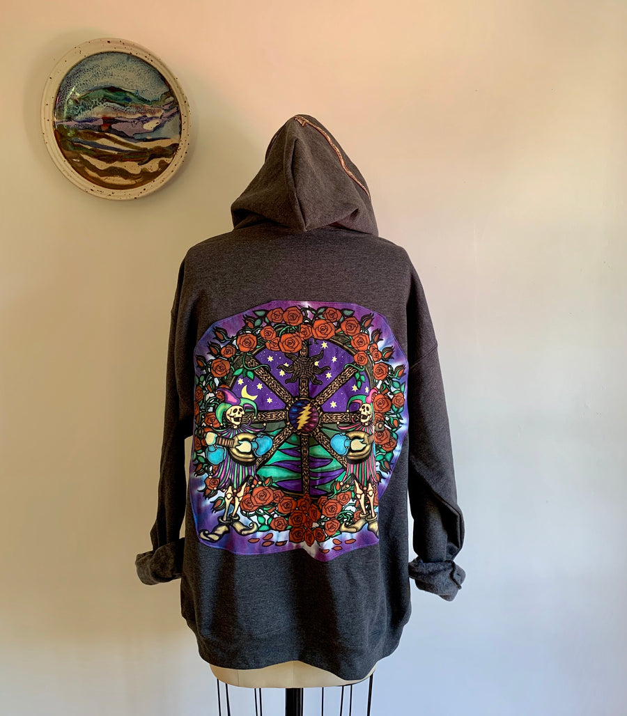 Charcoal Gray Grateful Dead Wheel Made To Order Black Hoodie Sweater with Random Trim Multiple Unisex Sizes Available