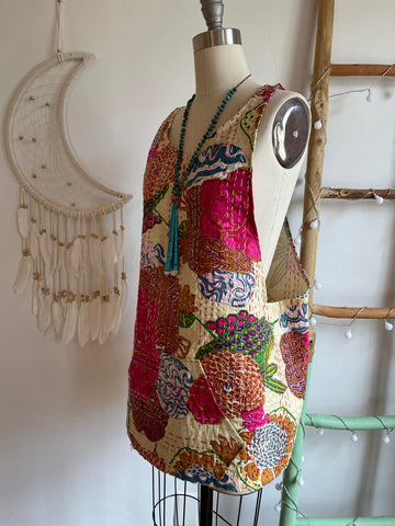 Size Small-Large Made To Order Light Beige Kantha Layering Open Back Tank Top with Front Pocket