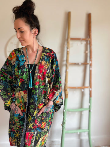 Size Small-Large. Custom Length Frida Kahlo Floral Print Kantha Bell Sleeve Long Robe Sweater Jacket Made To Order