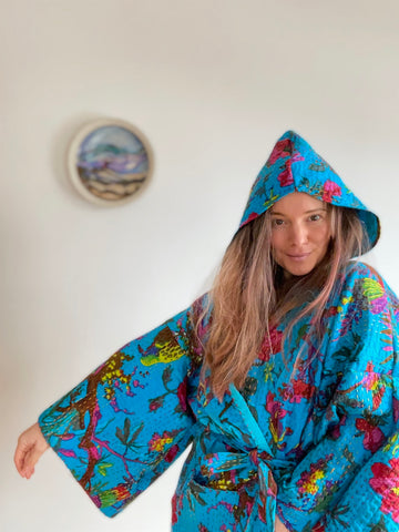 The Stella Hoodie-Blue Song Bird Fabric. Free Size. Custom Length Kantha Hooded Jacket Robe Sweater