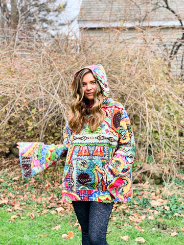 Size Large-2XL. Rainbow Dreamer Kantha Fabric Pullover Hoodie Sweater Jacket