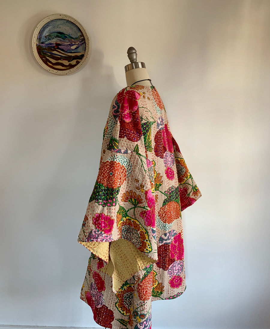 Size Small-Large. Custom Length Cardamom Floral Print Kantha Bell Sleeve Long Robe Sweater Jacket