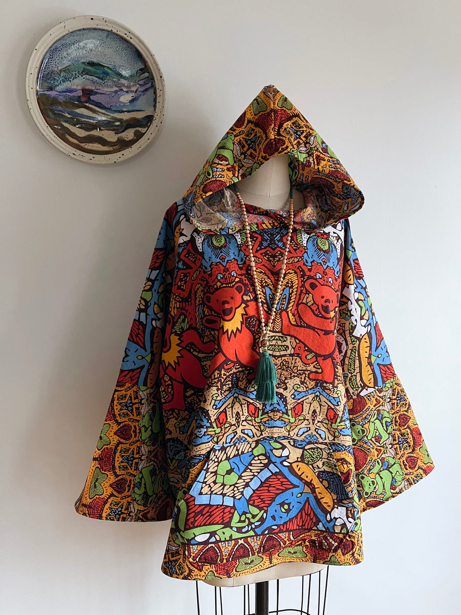Free Size. Fits up to 2XL. Grateful Dead Bear Mandala Print Bell Sleeve Pullover Hoodie Sweater One Size