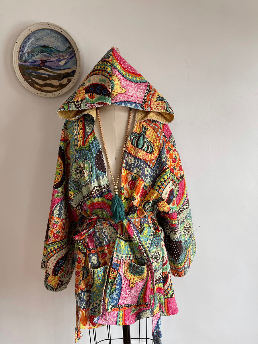 The Stella Hoodie-Rainbow Dreamer Fabric. Free Size. Custom Length Kantha Hooded Jacket Robe Sweater