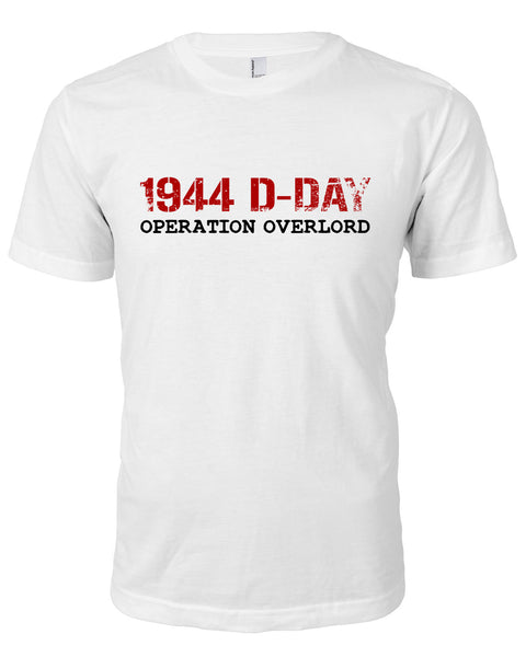 1944 D-Day T-Shirt White With Red Text