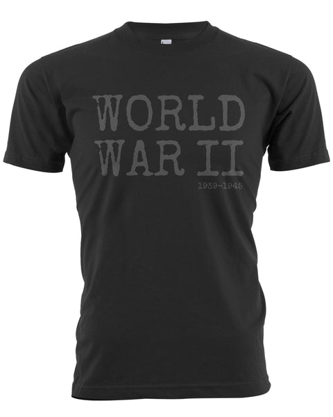 World War II T-Shirt Black With Gray Text