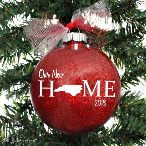Our New Home Christmas Ornament - State Christmas Ornament - First Home Ornament - Personalized Home Ornament - Realtor Ornament