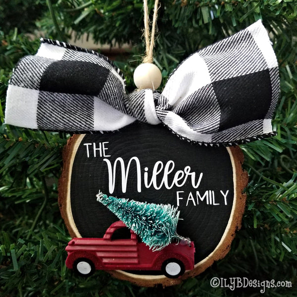 Personalized Red Truck Christmas Ornament - Family Christmas Ornament