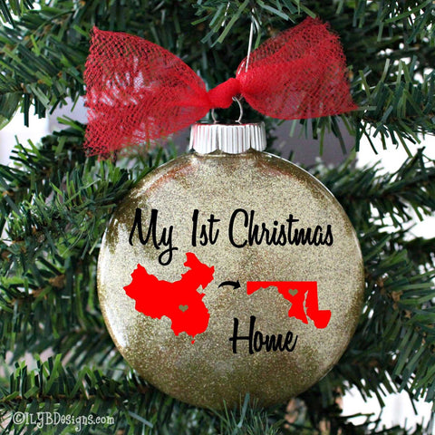 Adoption Christmas Ornament - Country & State Adoption Ornament - Adoption Gift - ILYB Designs