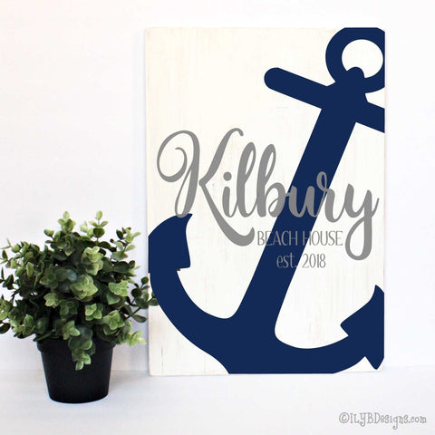 BEACH HOUSE Sign LAKE HOUSE Sign ANCHOR Sign - ILYB Designs