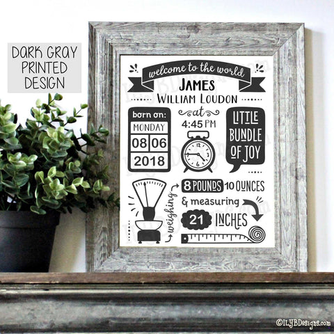 Baby Stats Frame - WELCOME TO THE WORLD Personalized Baby Stats Frame - ILYB Designs