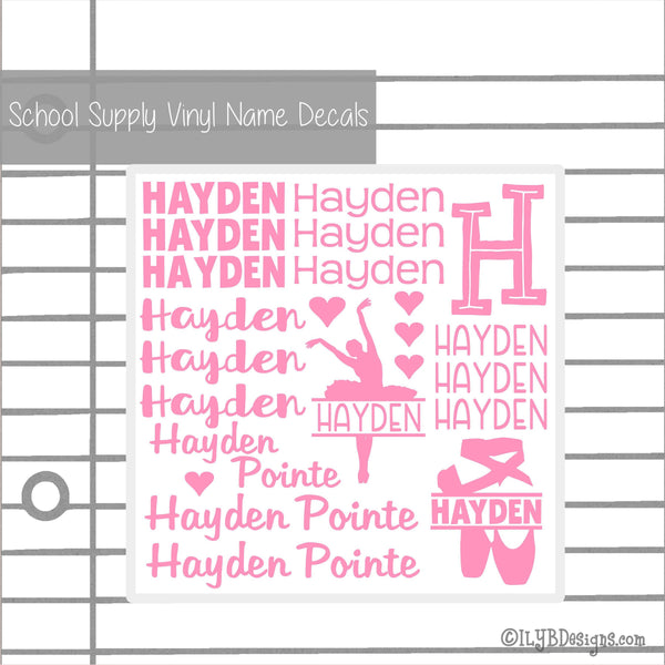 Ballet Back to School Labels - School Supply Labels for Girls - Back to School Name Decals - ILYB Designs