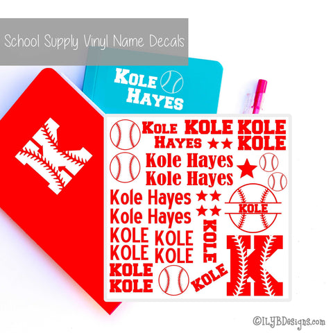 Baseball Back to School Name Labels - School Supply Labels for Boys - ILYB Designs