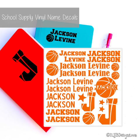 Basketball Back to School Name Labels - School Supply Labels for Boys | ILYB Designs