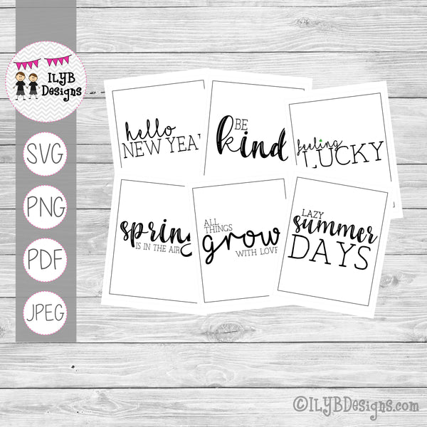 Monthly Word Art Designs - Black and White Simple Monthly Sayings - SVG, PNG, PDF, JPEG Files