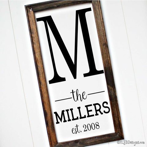 "A 10""x20"" dark walnut stained frame on a white canvas with a black design placed vertically. The design is a large printed initial letter on top with the word ""the"" placed in between 2 lines followed by a last name in a print font followed by an established year underneath."