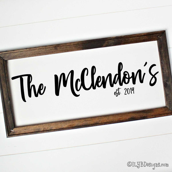 "Dark walnut stained frame on a white canvas with a black design. Design is placed horizontally on the 20""x10"" sign. Family name is in a bold script font with an established year underneath."