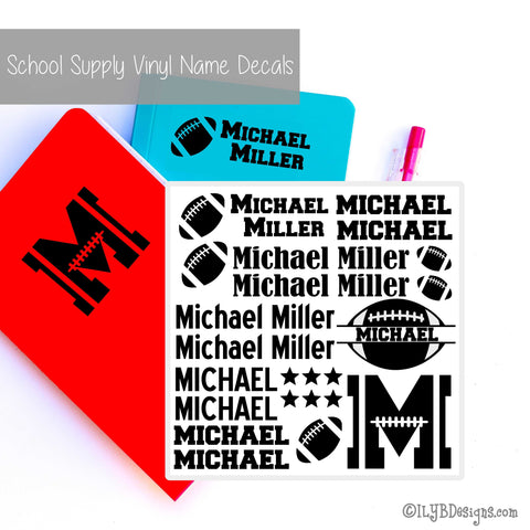 Football Back to School Name Labels - School Supply Labels for Boys - ILYB Designs