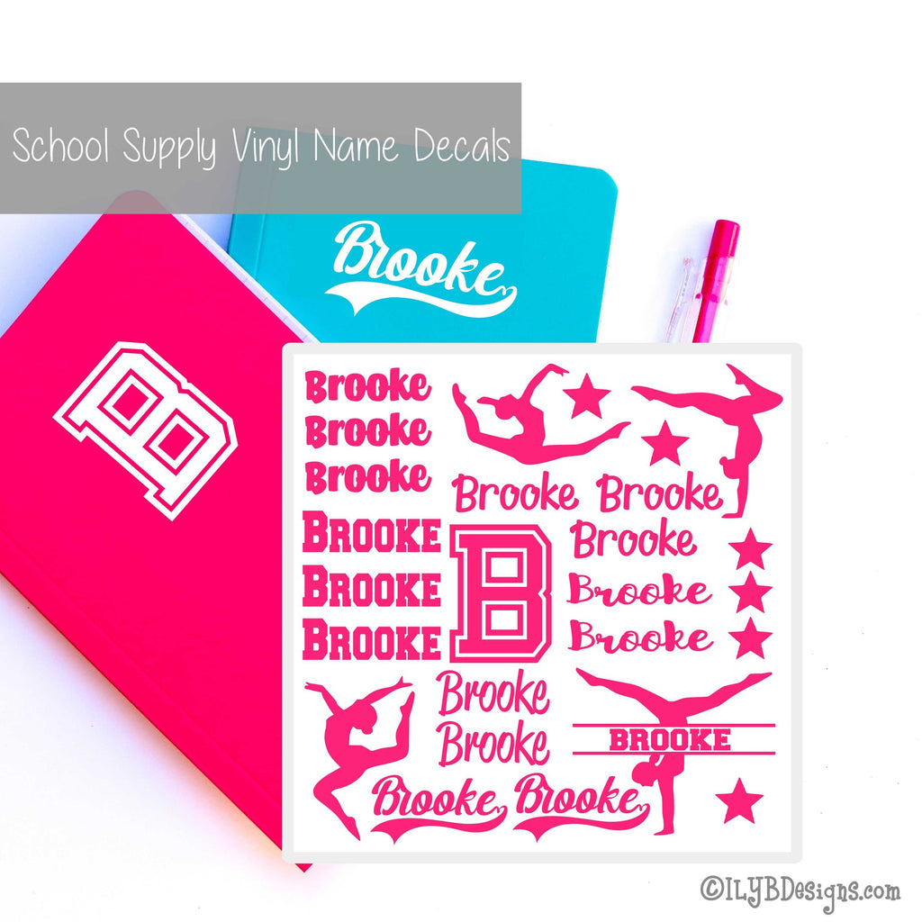 Gymnastics Back to School Labels - School Supply Labels for Girls - Back to School Name Decals - ILYB Designs