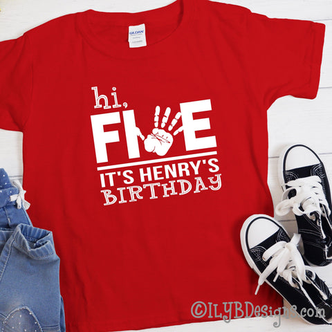 5th Birthday Shirt - Hi Five Birthday Shirt Personalized with Child's Name